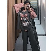 Đồ bộ dài đồ mặc nhà pijama màu hồng họa tiết mèo hồng siêu cute mẫu mới 2020