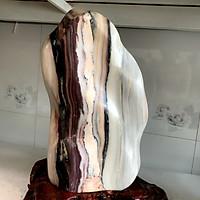 Cây đá tự nhiên để bàn màu hồng trắng đen, đa sắc chất đá canxite nặng hơn 9 kg cao 42 cm cho người mệnh Thổ và Hỏa.N42
