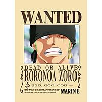 Poster Truy Nã Team Mũ Rơm Onepiece ZORO - bìa cứng kẹp sách A5 đẹp chất