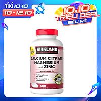 Thực Phẩm Chức Năng Hỗ Trợ Xương Khớp Kirkland Calcium Citrate Magnesium and Zinc With Vitamin D3 Hộp 500 viên - Kirkland Nhập Mỹ
