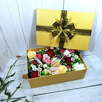Combo hộp quà hoa hồng tặng valentine 30x20x10cm tặng thiệp + giấy rơm lót + túi quà - HQ16
