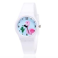 Đồng hồ bé gái dây silicon hình chim hồng hạc cá tính – DH011