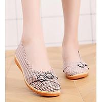 Giày búp bê nữ vải caro cao 2cm đi bộ cực êm chân V220