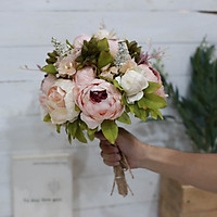 Hoa giả bó hoa lụa cầm tay cô dâu chùm mẫu đơn Vintage