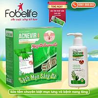 {Combo} : 1 Sữa tắm chuyên biệt cho mụn lưng & bệnh viêm nang lông Acnevir TẶNG 1 dải tắm- Chai 210ml