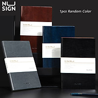 Nusign 1pcs A5 Retro Notebook Oil Wax Pattern Cover Writing Handbook 120 Sheets Paper Business Notepad With Ribbon Bookmark Record Note Book Student Diary Books School Schedule Planner Random Color