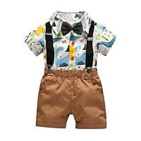 Gentleman Kids Boys Clothes Children Clothing Sets Summer Baby Boy Cartoon Print T-Shirt Suspender Short Pants Outfits