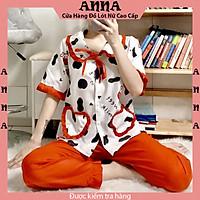 Đồ Bộ Mặc Nhà Pyjama Lụa Kate In 3D Quần Dài Tay Ngắn Cổ Bèo Họa Tiết Bò Sữa Freesize Dưới 58Kg - PKDB45