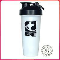 Bình lắc Shaker pha sữa cho người tập GYM hiệu TCSPORTFOOD - Bình nước thể thao Shaker 600 ml - Bình màu trắng nắp đen