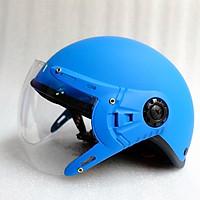 Mũ Bảo Hiểm có kính 1/2 đầu xanh dương nhám