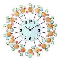 Đồng hồ treo tường 3D bằng kim loại & vỏ ốc tự nhiên - ĐK 60 cm