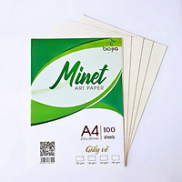 Giấy vẽ A4 Minet - vẽ phác thảo/kí họa - màu vàng tự nhiên, sử dụng được các loại màu/ định lượng 100gsm/180gsm - hàng Việt Nam (300 tờ)