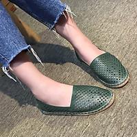 Giày Slip On nữ Thái Lan màu xanh Olive đẹp tuyệt vời tôn dáng chị em, chất đẹp, mềm êm ngay lần sử dụng đầu tiên