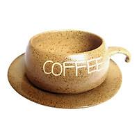 Bộ Quà Tặng Tách Coffee Đĩa Lõm - Gốm Sứ Bát Tràng - P06N - Màu Nâu