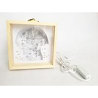 Đèn ngủ trang trí giấy nghệ thuật 3D Kirigami Lightbox handmade, cổng USB, hộp gỗ, 9x9x12cm (Phố phường thân quen)