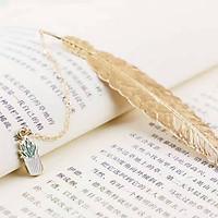 Bookmark Kim Loại Đánh Dấu Sách Hình Lông Vũ Dây Treo - Chậu Cây