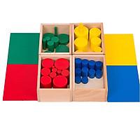 Giáo cụ Montessori - 4 Bộ 4 hộp hình trụ không núm Knobless cylinders