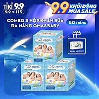 Combo 3 hộp khăn vải khô đa năng cho bé Oma Baby ( 1 Hộp/ 80 miếng)