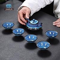 Bộ trà gốm màu xanh 7 món bằng gốm sứ đầy màu sắc Tianmu