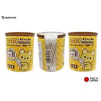 Combo 03 Hộp tăm bông ngoáy tai in hình dễ thương cho bé Sanyo - Made in Japan