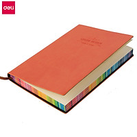 Deli Leather Note Book 56K 112 Pages Portable Notebook Thicken Note Pad Colorful Edge Durable Planner Journal Book 5 Color Optional Notepad Student Diary Daily Memo Home Office School Stationery