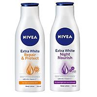 Combo Dưỡng thể Nivea: Chai ban ngày dưỡng trắng, săn da spf 35++ và Chai ban đêm dưỡng trắng da bổ sung collagen-( 200ml*2)