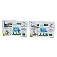 Bộ 2 hộp khẩu trang y tế 4 lớp vải kháng khuẩn DIAMOND MASK hộp 50 cái màu xanh tiêu chuẩn ISO, CE, FDA xuất khẩu Châu Âu - Mỹ