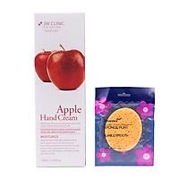 Kem dưỡng da tay chiết xuất Táo Hàn Quốc cao cấp 3W Clinic Apple Hand Cream (100ml) + Tặng Bông bọt biển massage mặt Hàn Quốc Aroma – Hàng Chính Hãng