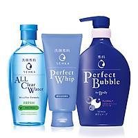 Bộ sản phẩm Senka làm sạch toàn diện (Sữa Tắm Senka Hương Linh Lan & Hoa Nhài 500ml + SRM Senka Perfect Whip 120g + Nước Tẩy Trang Senka Water Fresh 230 ml)