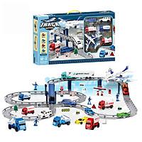 Bộ đồ chơi đường ray ô tô 54 chi tiết KAVY YM-865 có máy bay, 12 ô tô, biển báo..phát triển tư duy, thực hành cho bé