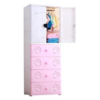 Tủ quần áo trẻ em cửa đôi hình gấu Royalcare 5 tầng màu hồng RC01195T-P