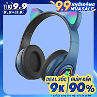 Tai Nghe Mèo Chụp Tai Bluetooth, Headphone Tai Mèo HP000047 Có Mic, Âm Bass Chuẩn, Dung Lượng Pin Khủng Nhiều Màu 400mA