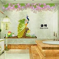 Decal dán tường Chim công dưới hoa trang trí phòng khách,phòng ngủ đẹp