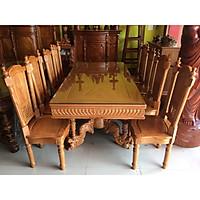 Bộ bàn ăn gõ đỏ 8 ghế hoàng gia chân nghê VIP