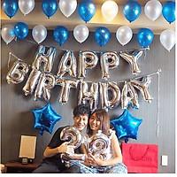 Set bóng trang trí sinh nhật HAPPY BIRTHDAY kèm bóng nhũ- tặng bơm keo