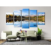 Bộ 5 tranh canvas treo tường phong cảnh núi hồ mùa thu New Zealand - B5T005