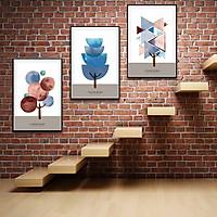 Bộ 3 tranh canvas treo tường Decor cây trừu tượng, cách điệu hình khối - DC091