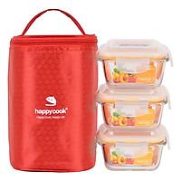 Bộ 3 hộp thủy tinh vuông HappyCook 320ml Kèm Túi Giữ Nhiệt HCG-03SE