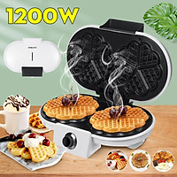 Sokany 220V 1200W Electric Double-side Waffles Maker Non-stick Sandwich Cake Oven Pan Machine 5 Temperature Adjustment for Kitchen Breakfast Waffles/Sandwiches