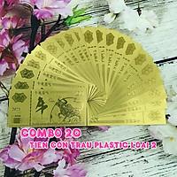 Combo 20 tờ lưu niệm 100 hình con Trâu màu vàng, chất liệu nhựa plastic (loại 2), dùng để trang trí trong nhà, treo cây hoa mai, làm tiền lì xì, quà mừng dịp Lễ, Tết 2021 - TMT Collection - SP005098
