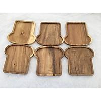 Bộ 6 miếng đế lót ly gỗ KEO hình Nấm màu gỗ tự nhiên - LL03