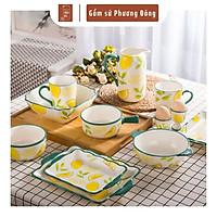 Bộ bát đĩa đẹp, chén dĩa sứ, tô bát ăn cơm gốm sứ cao cấp 12 món, vẽ tay thủ công tinh xảo PD096