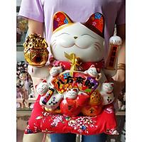 Mèo Thần Tài tay vẫy 25cm may mắn MIXU013 (tặng kèm 50 xu vàng mini)