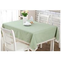 Khăn trải bàn vải bố - Chấm bi xanh lá mạ - mẫu C04