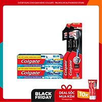 Bộ 2 kem đánh răng Colgate the mát bạc hà Maxfresh 230g/tuýp tặng kèm bàn chải lông tơ và 2 bàn chải đánh răng Colgate than hoạt tính kháng vi khuẩn SlimSoft Charcoal mềm mảnh