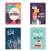 Thiệp sinh nhật Birthday - combo 4c thiệp Grey 7x10cm (495)