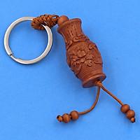 Móc khóa khắc hình 3D gỗ hương - móc khóa tài lộc, phong thủy, bình an và may mắn