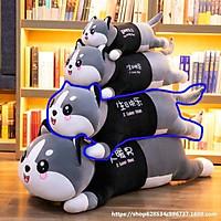 Gấu Bông Mèo Xám Dễ Thương Khổng Lồ Lông Nhung Bông Mềm Mịn - Gấu Bông Husky - MH04