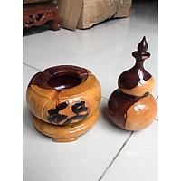 Combo gạt tàn thuốc và hủ tăm gỗ cẩm lai, chạm sắc nét