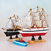 Mô hình thuyền gỗ trang trí thuận buồm xuôi gió sọc đen